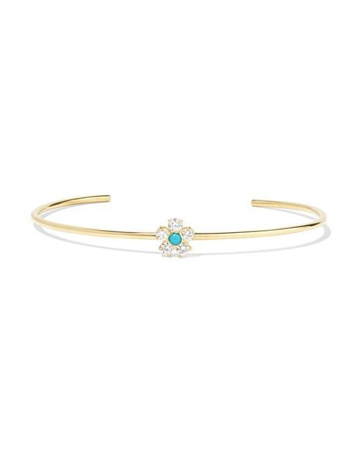 Jennifer Meyer - Metallic Flower 18-karat Gold, Diamond And Turquoise Cuff - Lyst