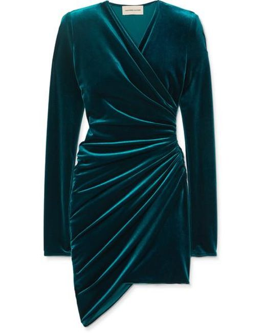 cheaper best supplier best shoes Women's Blue Ruched Stretch-velvet Mini Dress