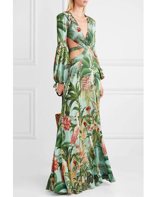 8f2b79a3e5be9 ... PATBO - Blue Paradise Cutout Embellished Printed Stretch-crepe Maxi  Dress - Lyst ...