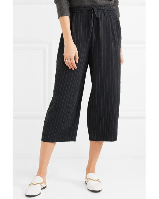 Cropped Pinstriped Twill Wide-leg Pants - Navy Vince Clearance Online Amazon Latest Collections Cheap Price Particular EG1HysgyC