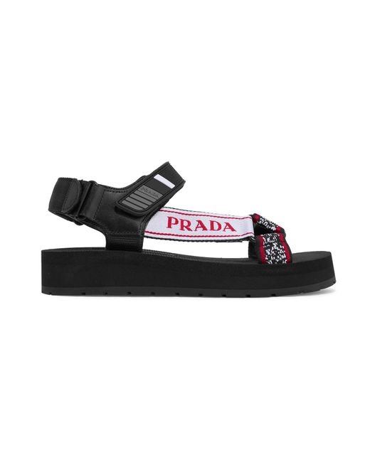 e18c6efd15d Prada - Black Logo-embossed Rubber-trimmed Leather And Canvas Sandals - Lyst  ...