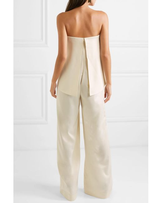 c3b4b889a23 ... Solace London - Natural Cadenza Ruffled Bonded Satin Jumpsuit - Lyst ...