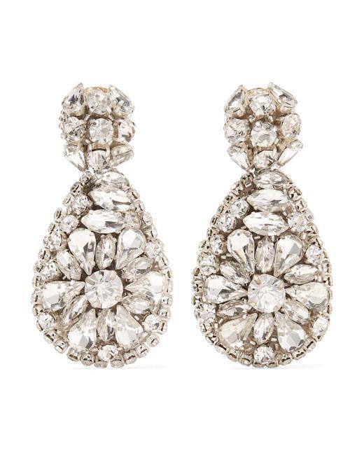 Oscar de la Renta - Metallic Silver-tone Crystal Clip Earrings - Lyst