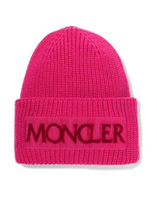 Moncler - Pink Rib Knit Logo Beanie - Lyst