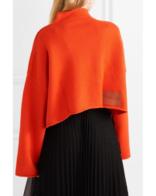 bd1bc39a27d748 ... J.W. Anderson - Orange Oversized Cropped Cable-knit Wool And  Cashmere-blend Sweater ...