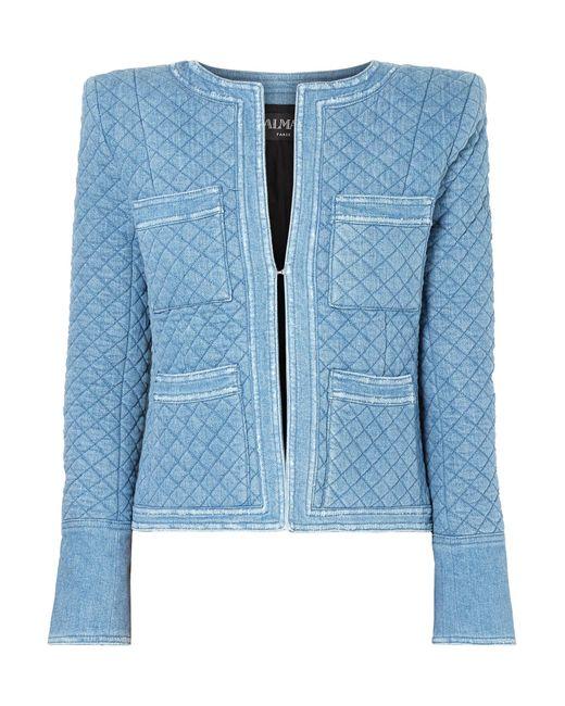Balmain - Blue Quilted Denim Jacket - Lyst