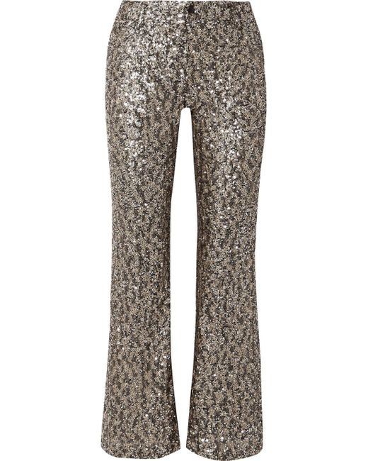 Anna Sui - Metallic Twinkling Stars At Night Sequined Mesh Wide-leg Pants - Lyst