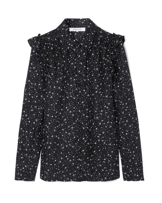 FRAME | Black Ruffled Printed Silk Shirt | Lyst