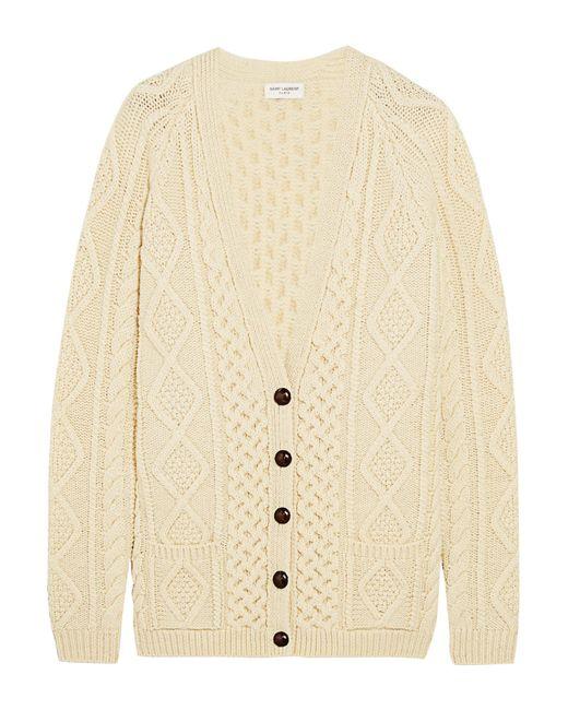 Saint Laurent   White Oversized Chunky-knit Wool Cardigan   Lyst