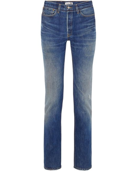 Re/done - Blue + Levi's Distressed High-rise Straight-leg Jeans - Lyst