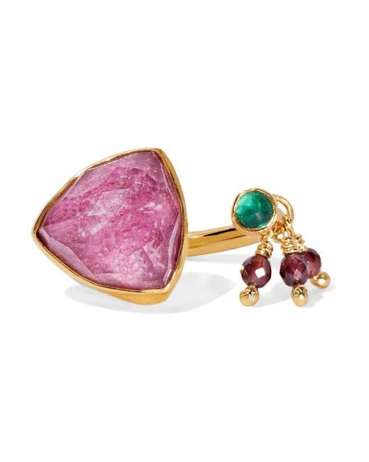 Katerina Makriyianni | Pink Trillion Gold-plated Multi-stone Ring | Lyst