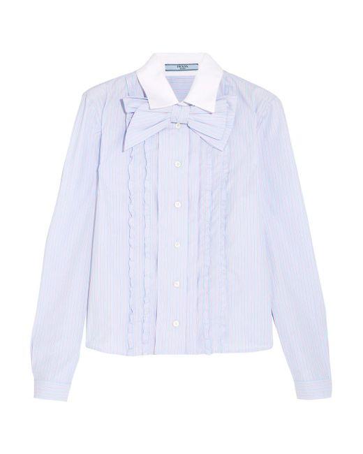 Prada - Blue Bow-embellished Ruffled Striped Cotton Shirt - Lyst