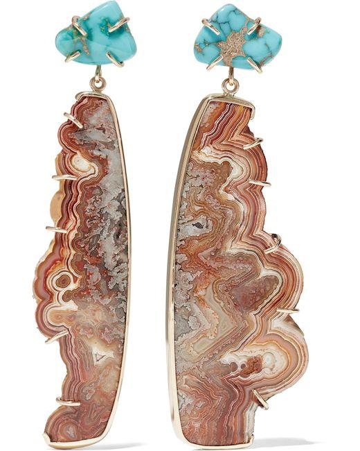 Melissa Joy Manning | Metallic 14-karat Gold, Turquoise And Agate Earrings | Lyst