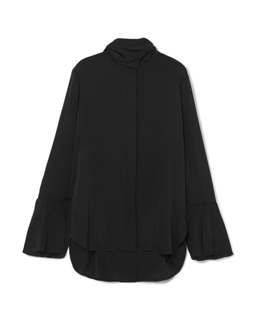 Ellery - Black Nouveau Pussy-bow Stretch-silk Satin Blouse - Lyst