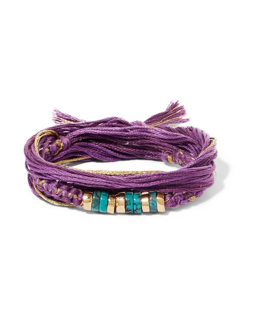 Aurelie Bidermann   Purple Takayama Cotton, Gold-plated And Turquoise Wrap Bracelet   Lyst