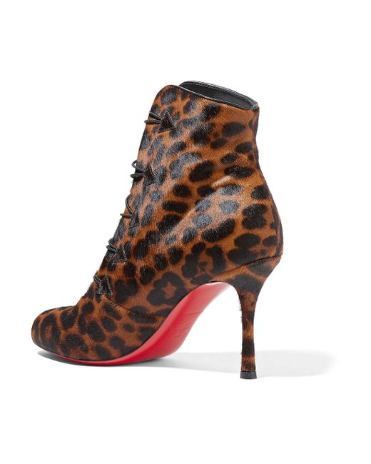 Booton 85 Leather-trimmed Leopard-print Calf Hair Ankle Boots - Leopard print Christian Louboutin Wwgft