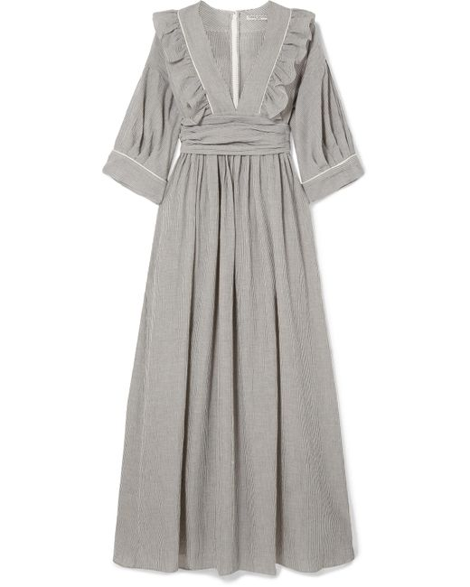 Three Graces London - Gray Adeline Striped Cotton-blend Maxi Dress - Lyst