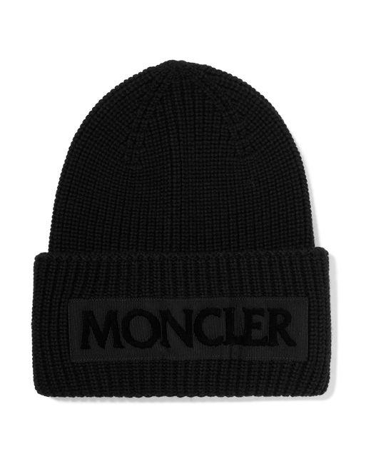 Moncler - Black Flocked Grosgrain-trimmed Ribbed Wool Beanie - Lyst