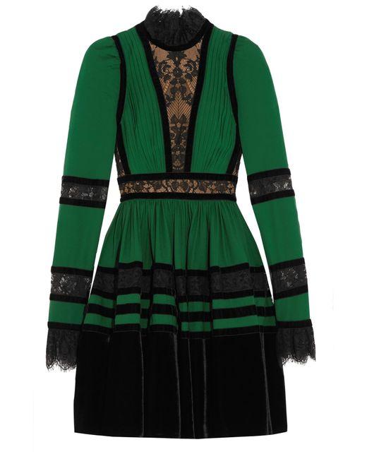 Elie Saab - Green Long Sleeve Mini Dress - Lyst