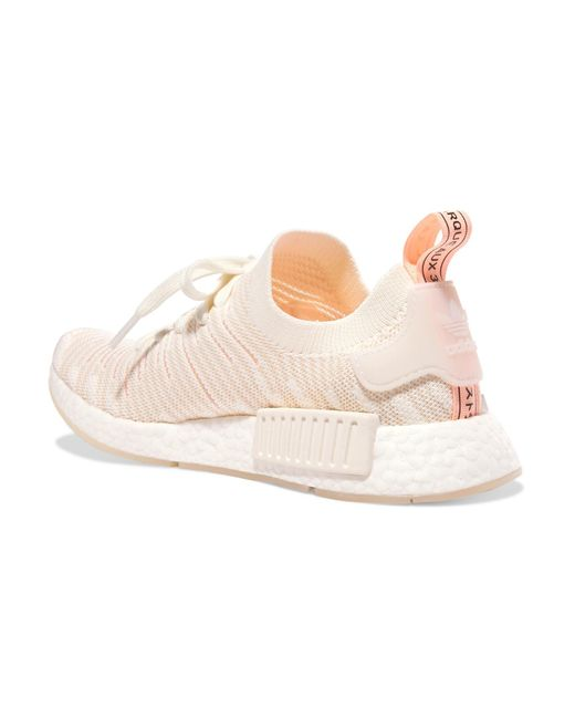 ecc45d5dc ... Adidas Originals - White Nmd r1 Rubber-trimmed Primeknit Sneakers - Lyst  ...