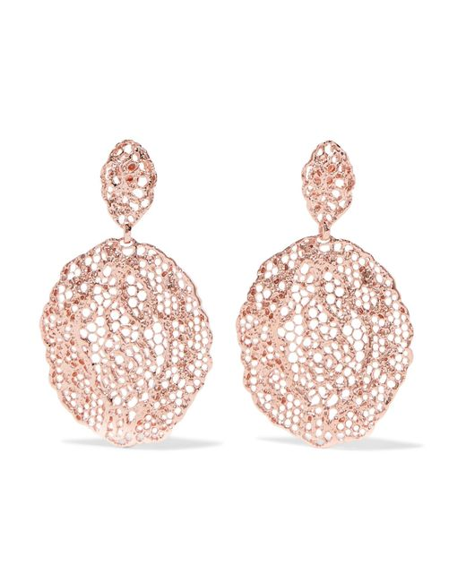 Aurelie Bidermann | Pink Lace Rose Gold-plated Earrings | Lyst