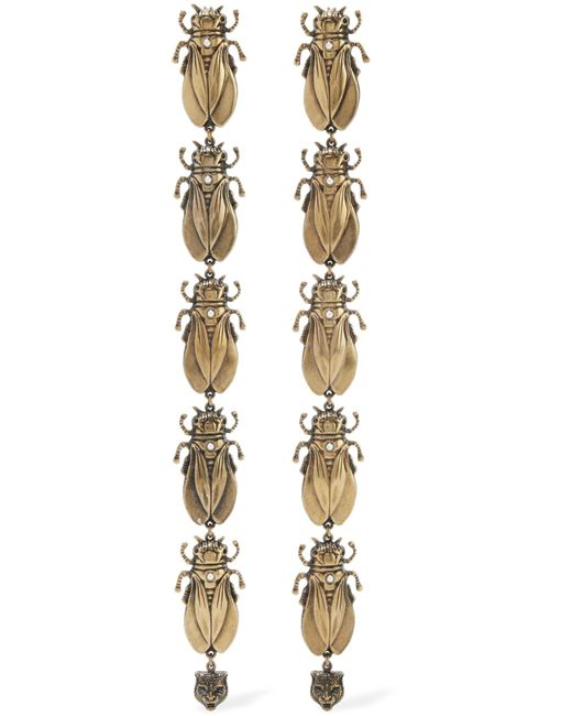 Gucci | Metallic Gold-tone, Faux Pearl And Enamel Earrings | Lyst