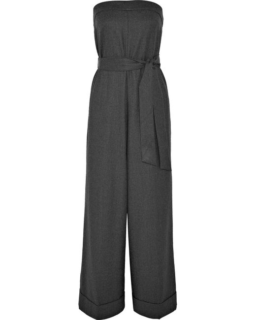 J.Crew - Gray Draft Strapless Belted Wool Jumpsuit - Lyst