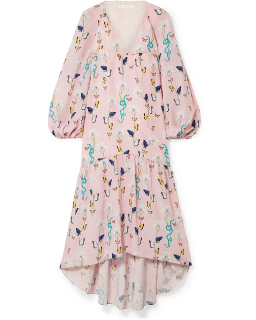 Borgo De Nor - Pink Matilde Asymmetric Printed Crepe De Chine Dress - Lyst