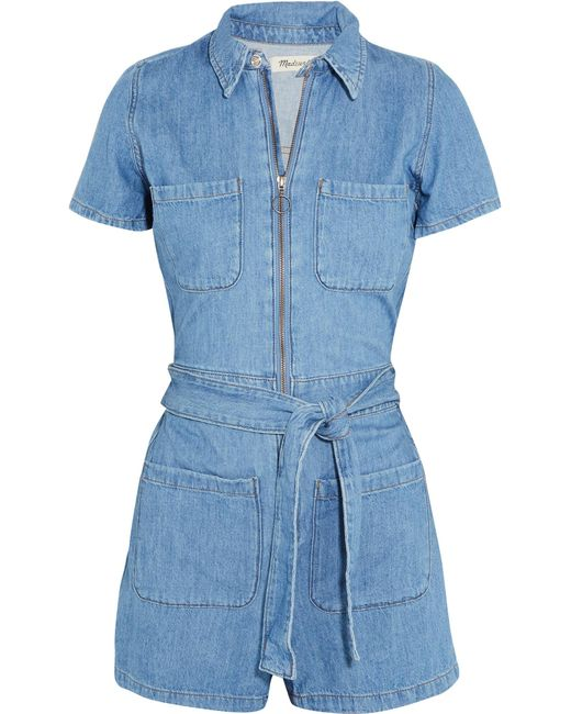 Madewell | Blue Cotton And Linen-blend Playsuit | Lyst