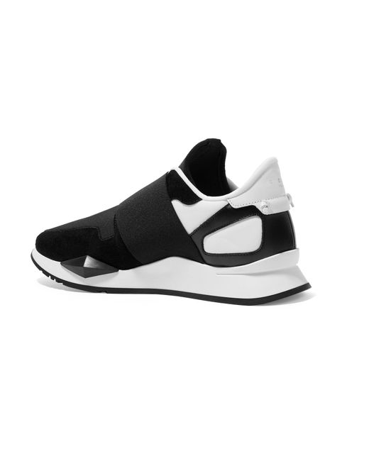 Runner Elastic Leather And Suede-paneled Neoprene Sneakers - Black Givenchy Bish5voXNG