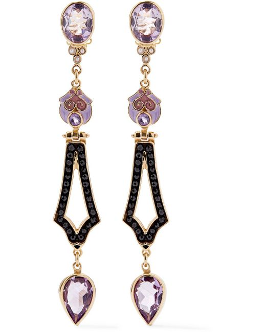 Percossi Papi - Purple Gold-plated And Enamel Multi-stone Earrings - Lyst