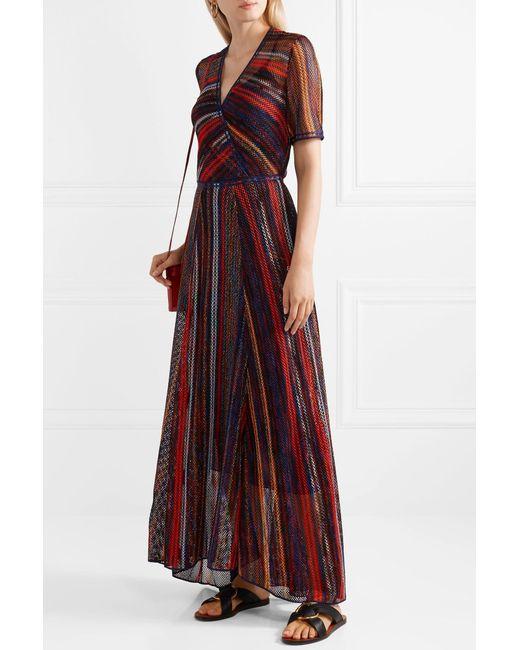 8896db28fa89 ... Missoni - Red Striped Metallic Crochet-knit Maxi Dress - Lyst ...
