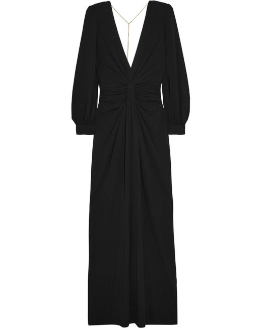Michael Kors | Black Chain-embellished Open-back Draped Jersey Gown | Lyst