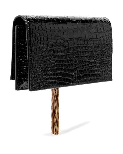 ... Saint Laurent - Black Kate Small Croc-effect Patent-leather Shoulder Bag  - Lyst ... 070c68eda483c