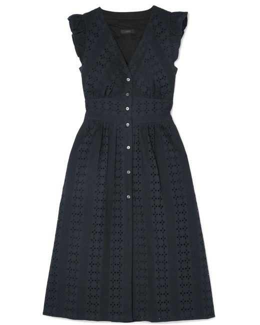J.Crew - Black Broderie Anglaise Cotton-poplin Dress - Lyst