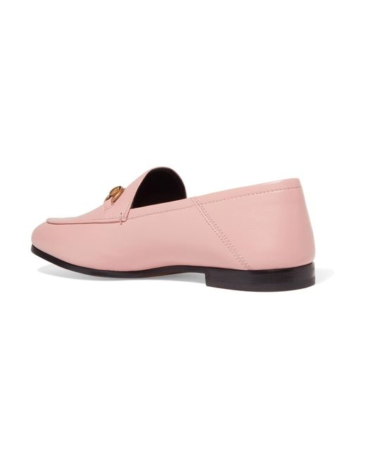 5b4c9663d5a ... Gucci - Pink Brixton Horsebit-detailed Leather Collapsible-heel Loafers  - Lyst ...