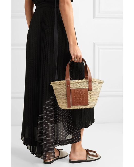 ... Loewe - Multicolor Small Leather-trimmed Woven Raffia Tote - Lyst ... 5bf550ff4fe04