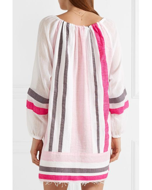 Mimi Striped Cotton-blend Gauze Mini Dress - Baby pink Lemlem Sale High Quality Wholesale Price Online From China For Sale GM9wfG7