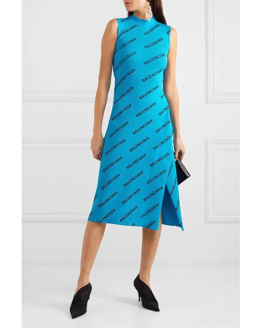 b6ab0f86985 ... Balenciaga - Blue Wrap-effect Printed Ribbed-knit Midi Dress - Lyst ...