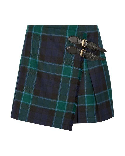 burberry pleated tartan wool mini skirt in multicolor lyst