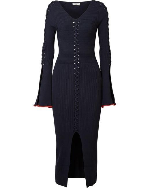 Opening Ceremony - Blue Criss Cross Ribbed-knit Midi Dress - Lyst
