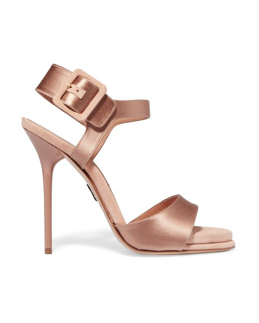 Paul Andrew | Pink Kalida Satin And Suede Sandals | Lyst