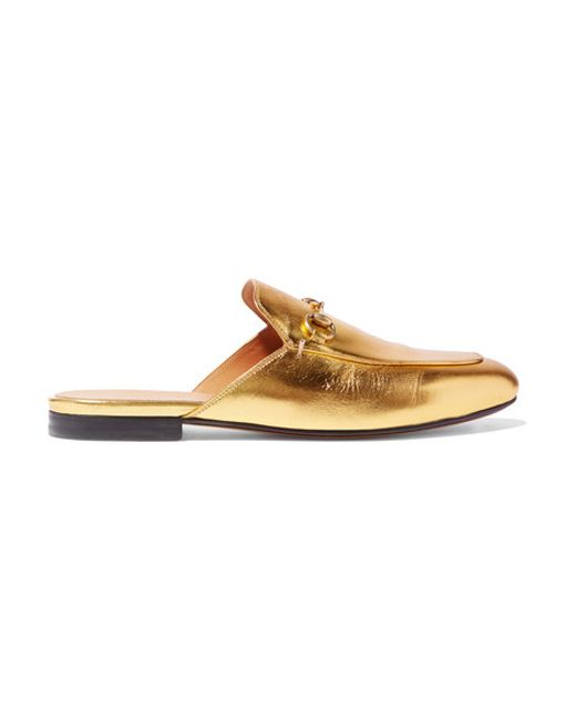 Gucci | Metallic Princetown Leather Backless Loafers | Lyst