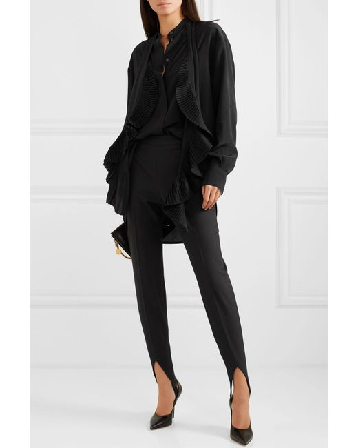 6f20b2e5 ... Givenchy - Black Oversized Ruffle-trimmed Silk Crepe De Chine Blouse -  Lyst ...