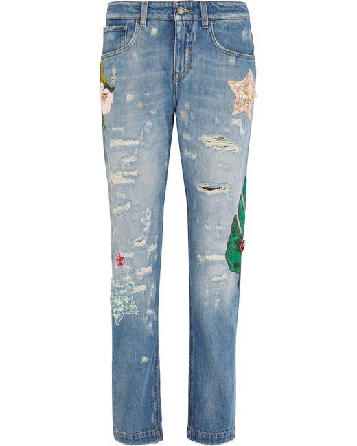 Dolce & Gabbana   Blue Mid-rise Boyfriend-fit Straight-leg Jeans   Lyst