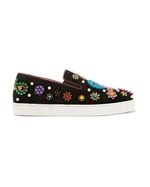 Christian Louboutin | Black Boat Candy 20 Embellished Suede Slip-on Sneakers | Lyst