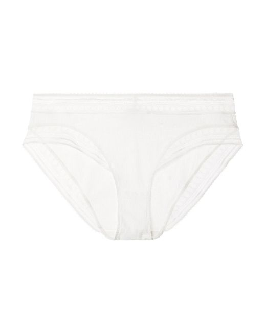 Eres - White Paroles Chanson Stretch-cloque And Leavers Lace Briefs - Lyst
