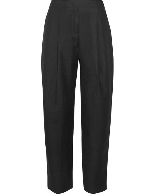 Acne | Black Wool-blend Crepe Tapered Pants | Lyst
