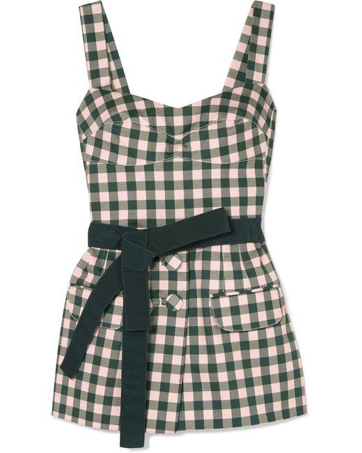 Silvia Tcherassi - Green Skylar Belted Gingham Cotton-blend Top - Lyst