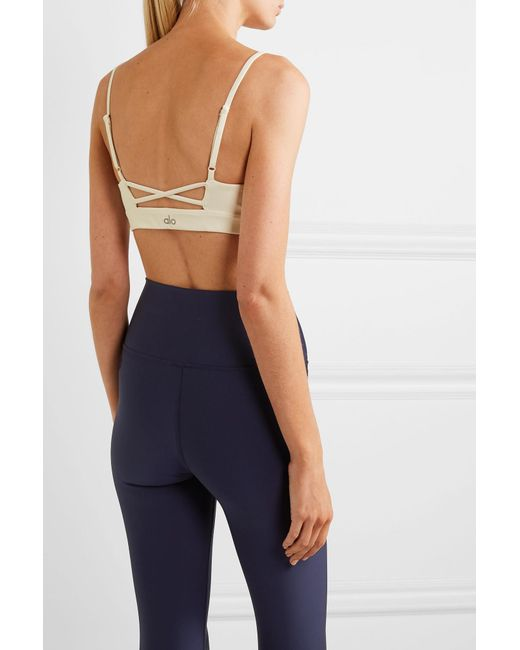 4365060583 ... Alo Yoga - White Interlace Technical-knit Stretch Sports Bra - Lyst ...